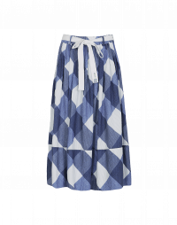 DIZZY: Navy and white check printed cotton skirt