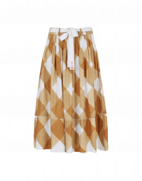 DIZZY: Tan and white check printed cotton skirt