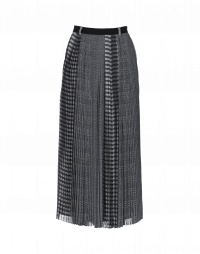 DRAMA: Long skirt in multiple black and white checks