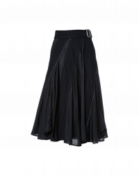 CONTINUO: Multi-panel, plain and pinstripe skirt