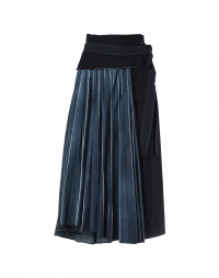 UTTERMOST: Pinstripe skirt with pleated denim top skirt