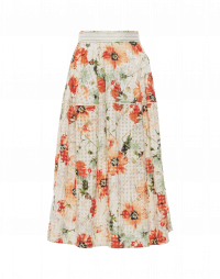 SWISH: Green and apricot floral print skirt