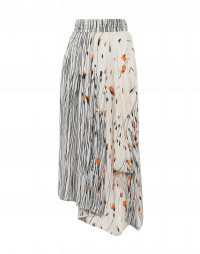 ACT UP: Asymmetrically draped floral and stripe print skirt