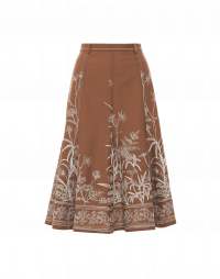 ABSOLUTELY: Multi-panel flared wool skirt with embroidery