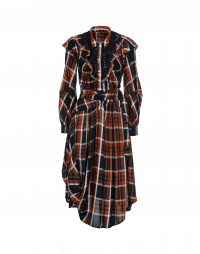 SOLILOQUI: Shirt-waister dress in navy, ochre and white rayon check
