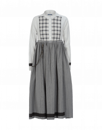 WHIMSY: Dress in ticking stripe, grey and white check and grey pinstripe