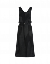 PURPOSE: Pinafore dress in back and white pinstripe