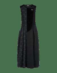 FANCIFUL: Abito smanicato nero e grigio con eco pelliccia