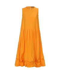 CHIME: Orange sleeveless dress with pleats and pickups