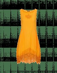 WALTZ: Abito smanicato con ricami color arancio