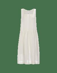 SERENE: Beige square neck sleeveless dress