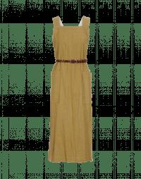 PURPOSE: Pinafore dress in mustard wool linen mix