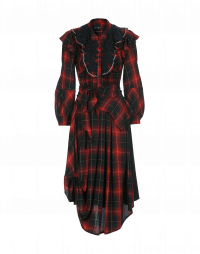 SOLILOQUI: Shirt-waister dress in navy, red and white rayon check