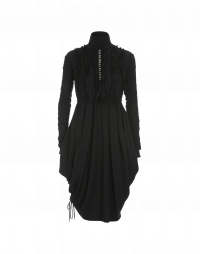 SHAKE UP: Black wool jersey dress with ruffle front