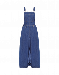 PERK UP: Salopette with in denim and cupro