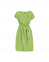 DILLY: Leaf green colour ramie shift dress