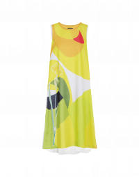 ROUND-ABOUT: Sleeveless dress with oversize bright abstract print
