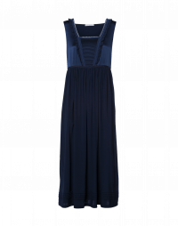 ROSALINE: Navy matt and shine satin-back crêpe dress
