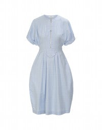LUCID: Soft blue check cotton dress