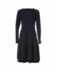COMPULSIVE: Navy jersey dress with check sleeves