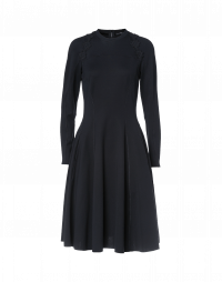CHOOSY: Navy jersey fit and flare dress with lace detail