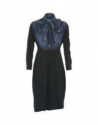 FERVENT: Abito in cupro blu navy con pettorina in denim
