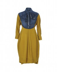 FERVENT: Mustard cupro and denim bib dress