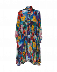 CALM: Shirt waist dress in multi-colour painted floral