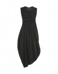 SKALINKA: Black and grey check sleeveless wool dress