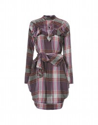 HARLEQUIN: Directional pink check belted dress