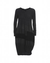 UPSTAGE: Black damask jersey, cupro and velvet dress