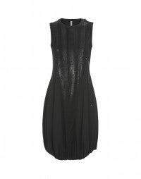 DEVOTED: Black suede effect with gloss print dress