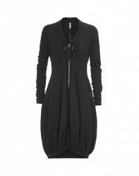 BOURREE: Black jersey zip front dress with ruched sleeves