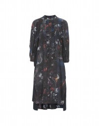 CANTICLE: Tech-floral print pin tuck dress