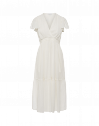 GRACE: Ivory seersucker georgette dress