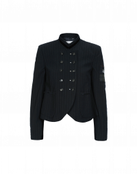 RIDDLE: Giacca gessata blu con fascia in velluto sul colletto