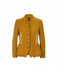 EYRE: Collarless jacket in saffron wool jersey