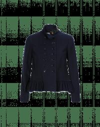 TOP-NOTCH: Giacca corta blu navy con colletto e balza