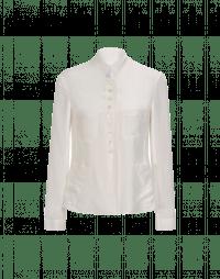 COINCIDE: Stand collar jacket in cream silk