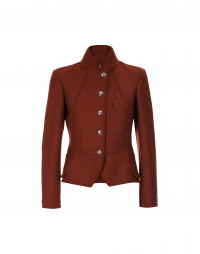 GIFTED: Short stand collar jacket in brick red jersey
