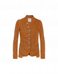 EYRE: Collarless jacket in caramel stripe and check