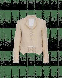 GENTLEFOLK: Giacca color crema damascata con colletto in piedi