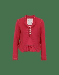GENTLEFOLK: Red damask stand collar jacket