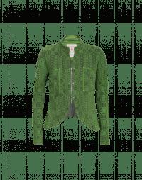 CONFIDE: Green knit zip front cardigan