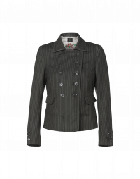 OPPOSE: Double breasted jacket in green pinstripe