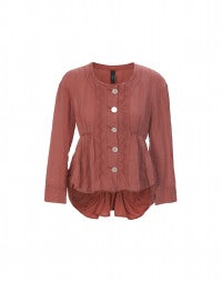 POLONAISE: Terracotta gathered front jacket