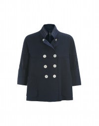 CARACO: Mid blue short swing jacket