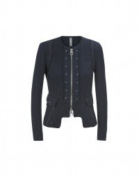 COURTESAN: Navy herringbone knit jacket