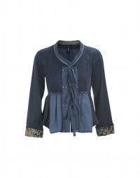MADRIGAZ: Blue embroidered swing back jacket