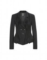 PROTOCOL: Nadelstreifen-Jacke aus grauer Wolle mit geschnittenen Kanten